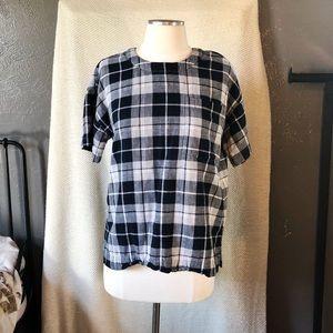 Madewell Plaid Flannel Short Sleeve Top